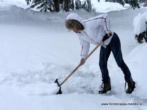 Nepravilno kidanje snega - upognjen hrbet